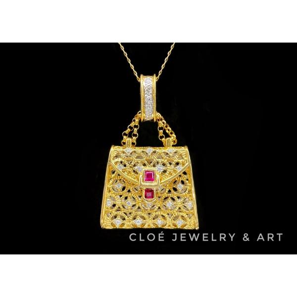 【Cloé日本中古珠寶—18k手袋鏈墜】